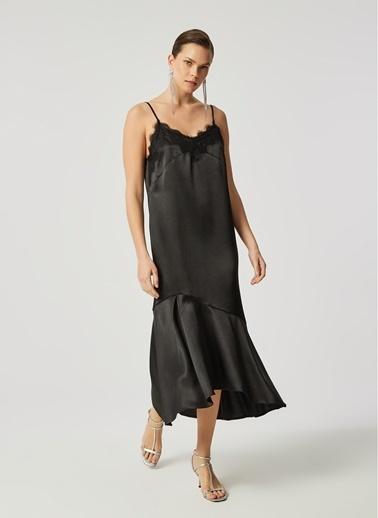 Monamoda Monamoda Dantel Detaylı Askılı Saten Kadın Elbise Siyah